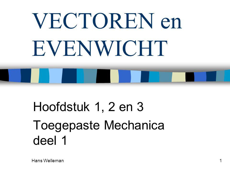 Hans Welleman1 VECTOREN en EVENWICHT Hoofdstuk 1, 2 en 3 Toegepaste Mechanica deel 1