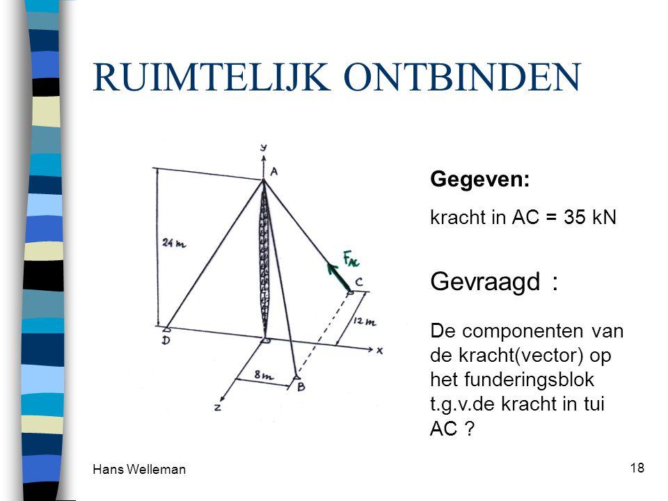 Hans Welleman 18 RUIMTELIJK ONTBINDEN Gevraagd : De componenten van de kracht(vector) op het funderingsblok t.g.v.de kracht in tui AC ? Gegeven: krach