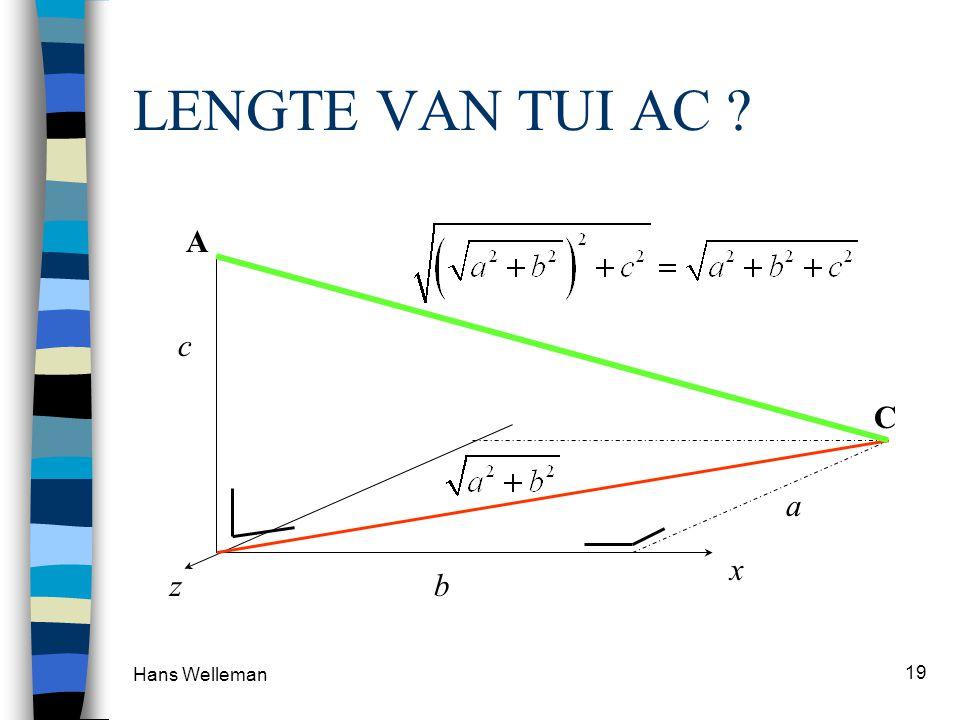 Hans Welleman 19 LENGTE VAN TUI AC ? a b c x z C A