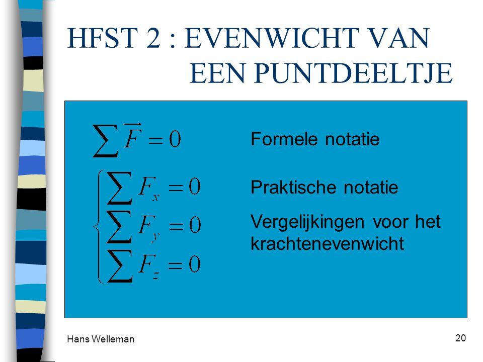 Hans Welleman 20 HFST 2 : EVENWICHT VAN EEN PUNTDEELTJE 2e wet van Newton : Som van de krachten is nul (geen beweging) 1. Analytisch – vectorvergelijk