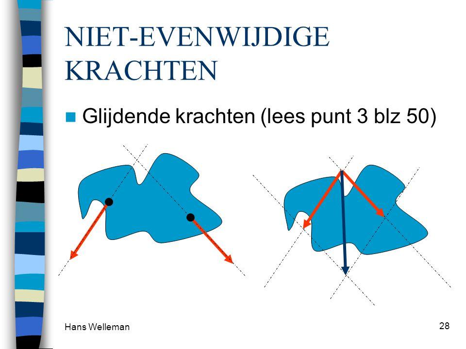 Hans Welleman 28 NIET-EVENWIJDIGE KRACHTEN Glijdende krachten (lees punt 3 blz 50)
