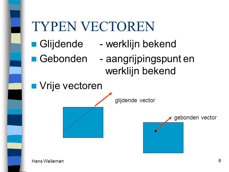 Hans Welleman 6 TYPEN VECTOREN Glijdende- werklijn bekend Gebonden- aangrijpingspunt en werklijn bekend Vrije vectoren glijdende vector gebonden vecto