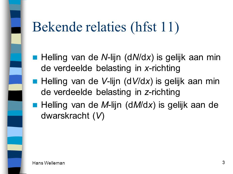 Hans Welleman 3 Bekende relaties (hfst 11) Helling van de N-lijn (dN/dx) is gelijk aan min de verdeelde belasting in x-richting Helling van de V-lijn