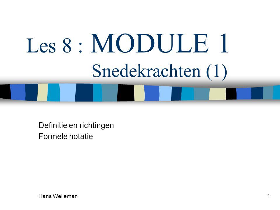 Hans Welleman1 Les 8 : MODULE 1 Snedekrachten (1) Definitie en richtingen Formele notatie