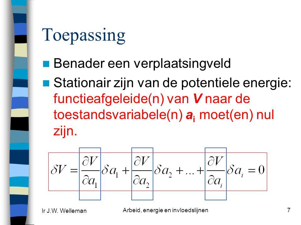 Ir J.W. Welleman Arbeid, energie en invloedslijnen8 Voorbeeld F l w(x)w(x) z, w x