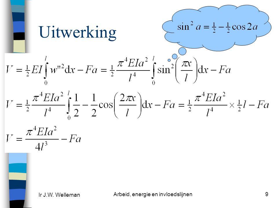 Ir J.W. Welleman Arbeid, energie en invloedslijnen9 Uitwerking