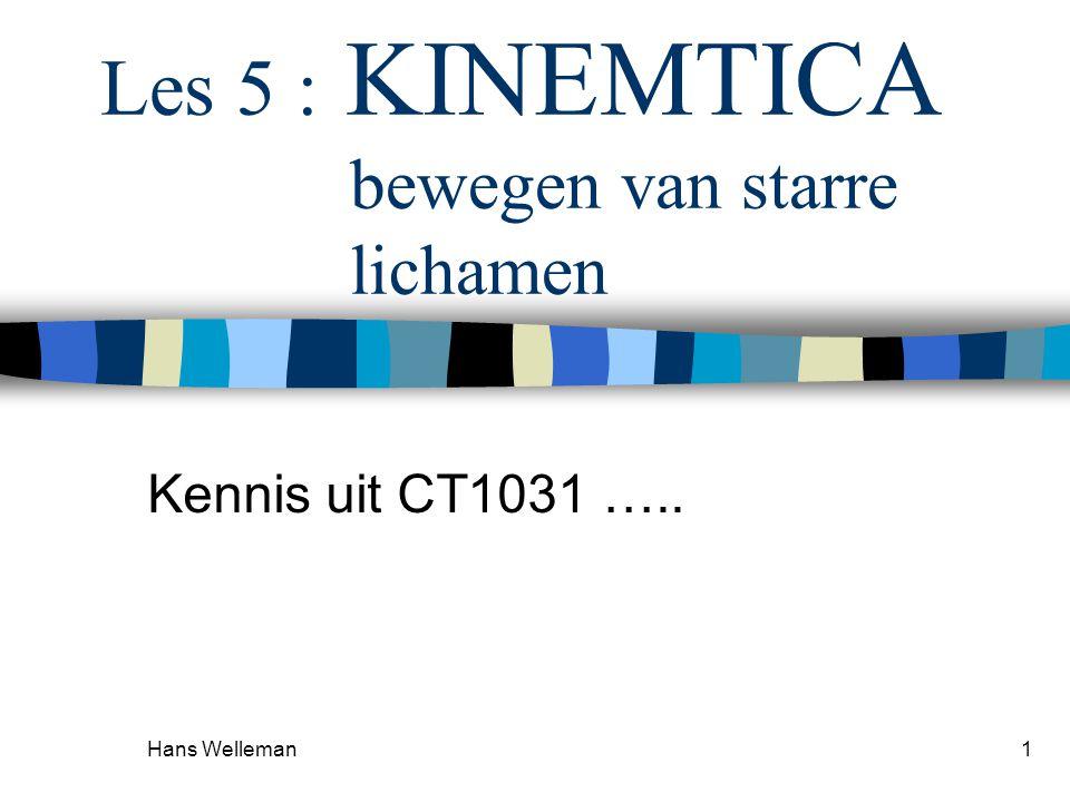 Hans Welleman1 Les 5 : KINEMTICA bewegen van starre lichamen Kennis uit CT1031 …..