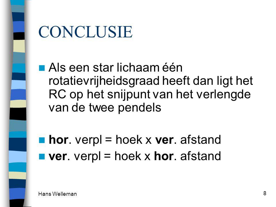 Hans Welleman 8 CONCLUSIE Als een star lichaam één rotatievrijheidsgraad heeft dan ligt het RC op het snijpunt van het verlengde van de twee pendels hor.