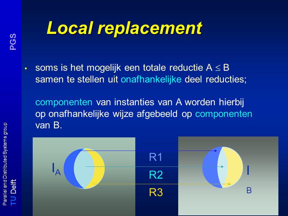 T U Delft Parallel and Distributed Systems group PGS IAIA Local replacement soms is het mogelijk een totale reductie A  B samen te stellen uit onafha