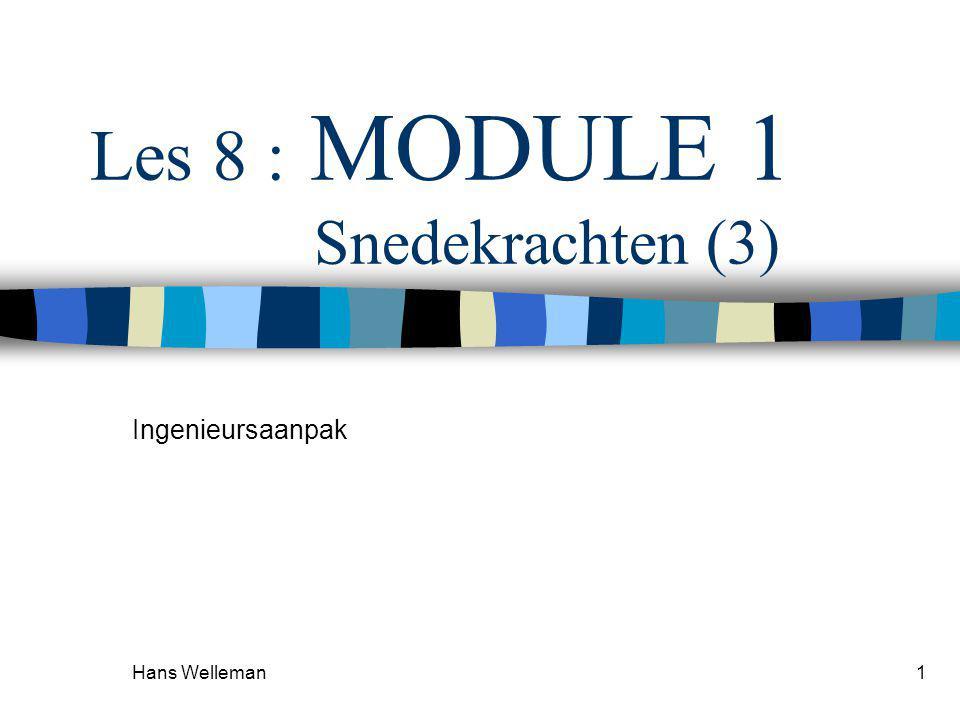 Hans Welleman1 Les 8 : MODULE 1 Snedekrachten (3) Ingenieursaanpak