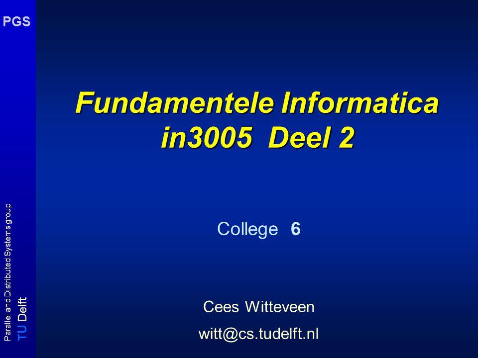T U Delft Parallel and Distributed Systems group PGS Zero Knowledge proofs details (iii) Als we deze informatie uitwisseling een aantal verschillende ronden ( zeg m ronden ) met verse oneway functies f i en permutaties f' uitvoeren dan is de kans dat P een kleuring kent als m ronden goed verlopen gelijk aan 1 - (1 - 1/ |E|) m Deze kans nadert tot 1 als m  .