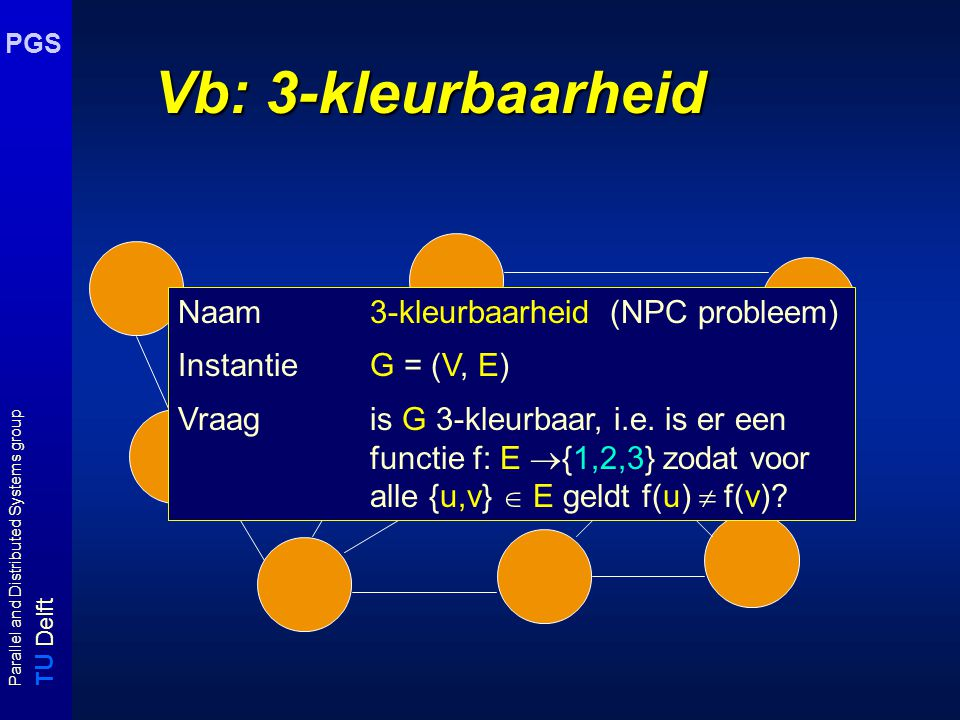 T U Delft Parallel and Distributed Systems group PGS Vb: 3-kleurbaarheid Naam3-kleurbaarheid (NPC probleem) Instantie G = (V, E) Vraag is G 3-kleurbaar, i.e.