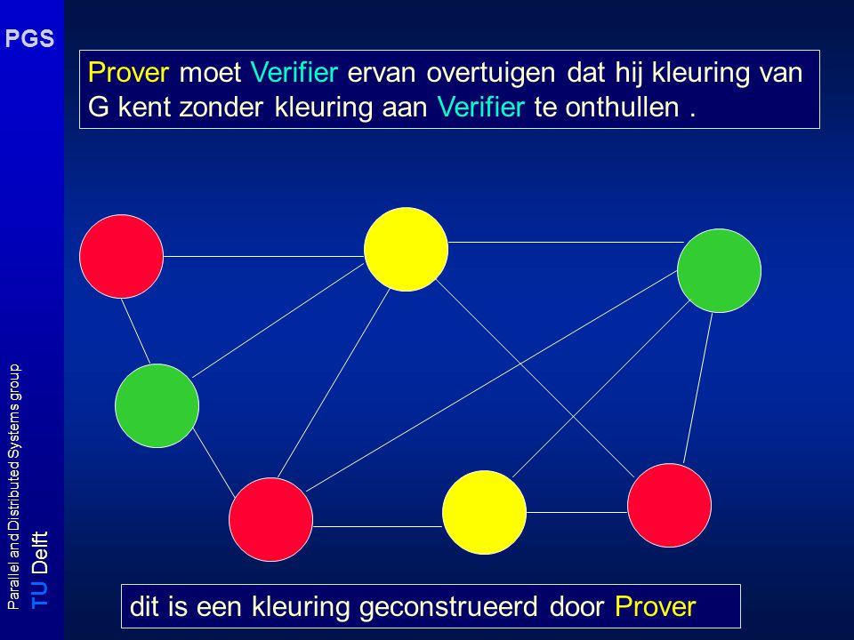 T U Delft Parallel and Distributed Systems group PGS Zero-Knowledge Prover moet Verifier ervan overtuigen dat hij kleuring van G kent zonder kleuring