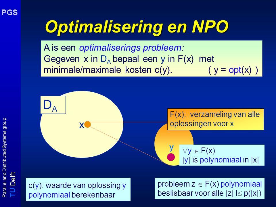 T U Delft Parallel and Distributed Systems group PGS Optimalisering en NPO c(y): waarde van oplossing y polynomiaal berekenbaar A is een optimaliserin