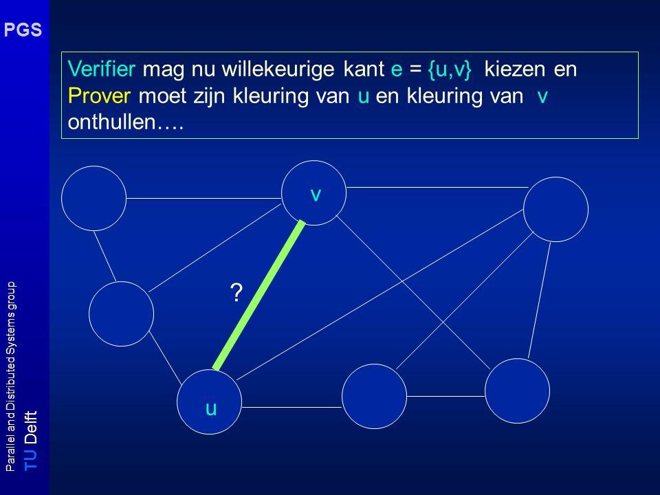 T U Delft Parallel and Distributed Systems group PGS Verifier mag nu willekeurige kant e = {u,v} kiezen en Prover moet zijn kleuring van u en kleuring