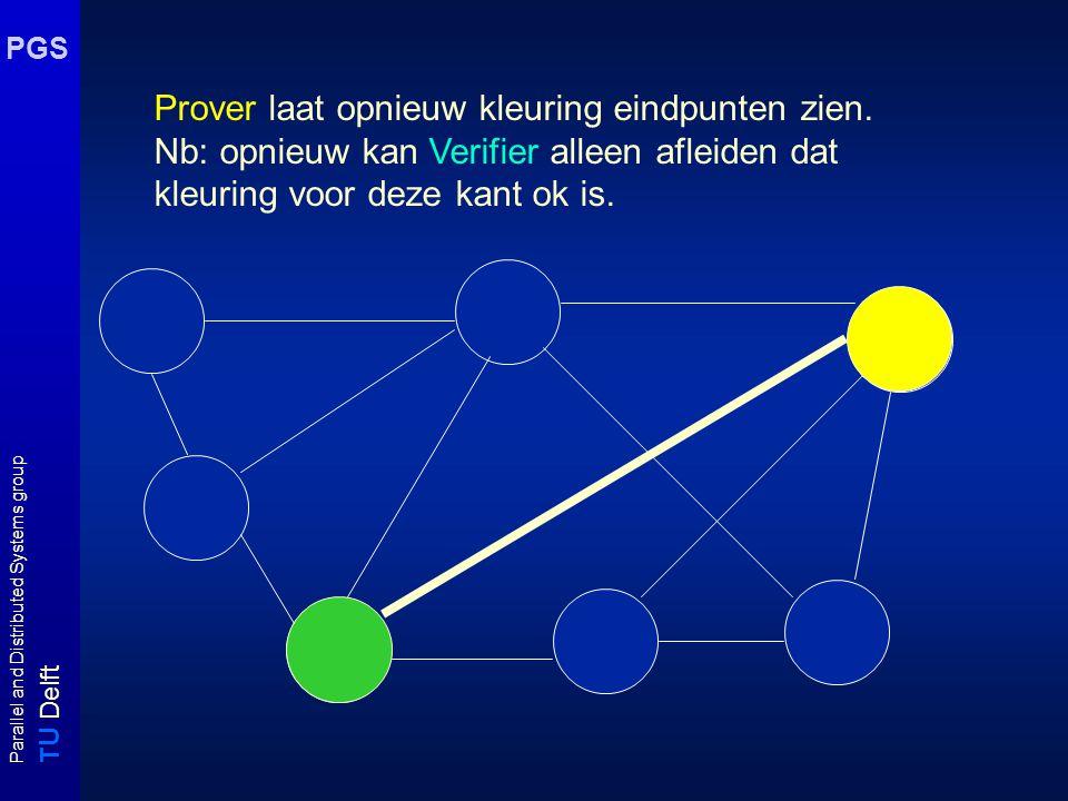 T U Delft Parallel and Distributed Systems group PGS Prover laat opnieuw kleuring eindpunten zien. Nb: opnieuw kan Verifier alleen afleiden dat kleuri
