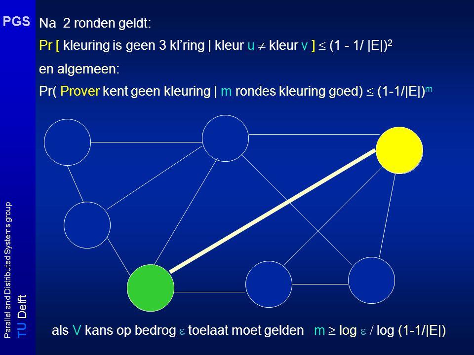T U Delft Parallel and Distributed Systems group PGS Na 2 ronden geldt: Pr [ kleuring is geen 3 kl'ring | kleur u  kleur v ]  (1 - 1/ |E|) 2 en alge