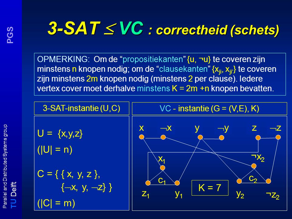 T U Delft Parallel and Distributed Systems group PGS 3-SAT  VC : correctheid (schets) U = {x,y,z} (|U| = n) C = { { x, y, z }, {  x, y,  z} } (|C|