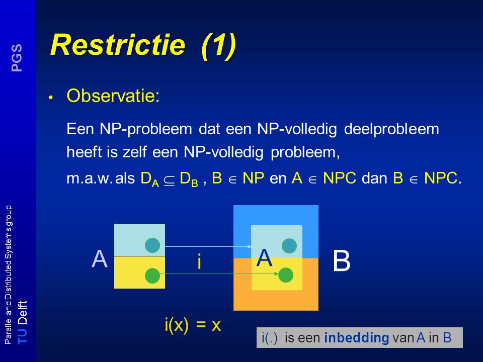 T U Delft Parallel and Distributed Systems group PGS Restrictie (1) Observatie: Een NP-probleem dat een NP-volledig deelprobleem heeft is zelf een NP-volledig probleem, m.a.w.