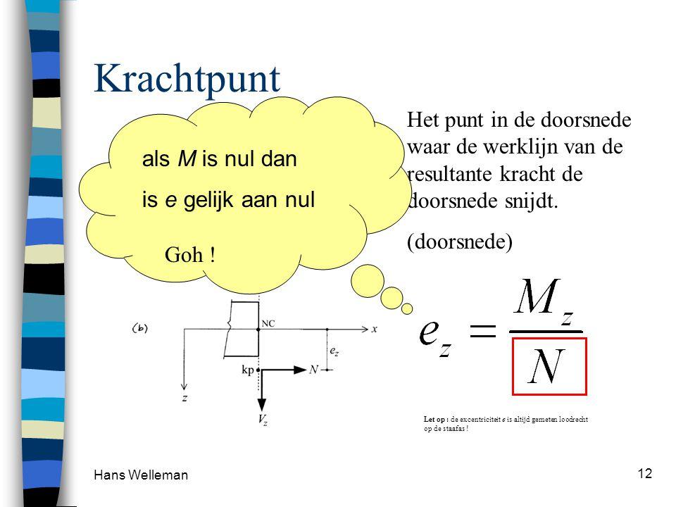 Hans Welleman 12 Krachtpunt Het punt in de doorsnede waar de werklijn van de resultante kracht de doorsnede snijdt. (doorsnede) Let op : de excentrici