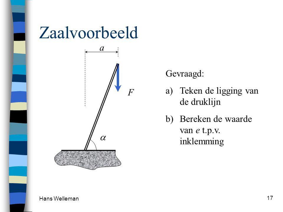 Hans Welleman 17 Zaalvoorbeeld F a Gevraagd: a)Teken de ligging van de druklijn b)Bereken de waarde van e t.p.v. inklemming 