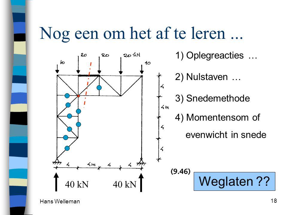 Hans Welleman 18 Nog een om het af te leren... 1) Oplegreacties … 3) Snedemethode 4) Momentensom of evenwicht in snede 40 kN 2) Nulstaven … 9 nulstave
