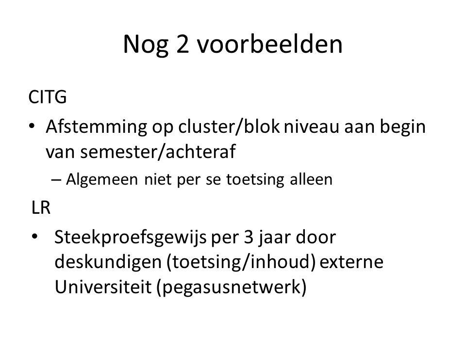 Nog 2 voorbeelden CITG Afstemming op cluster/blok niveau aan begin van semester/achteraf – Algemeen niet per se toetsing alleen LR Steekproefsgewijs per 3 jaar door deskundigen (toetsing/inhoud) externe Universiteit (pegasusnetwerk)