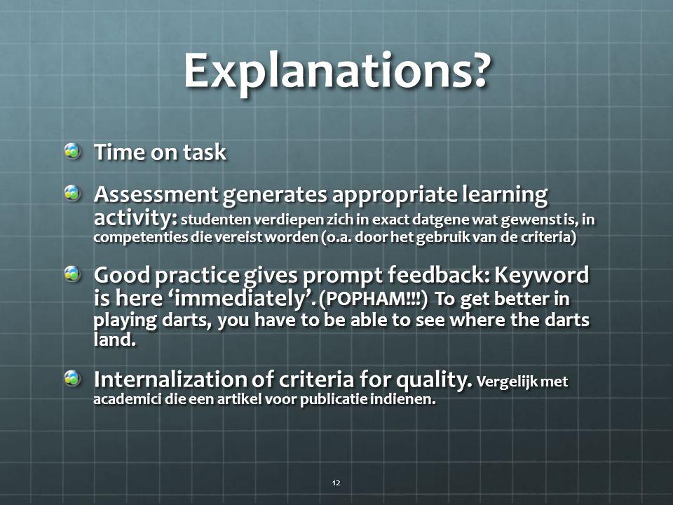 Explanations? Time on task Assessment generates appropriate learning activity: studenten verdiepen zich in exact datgene wat gewenst is, in competenti