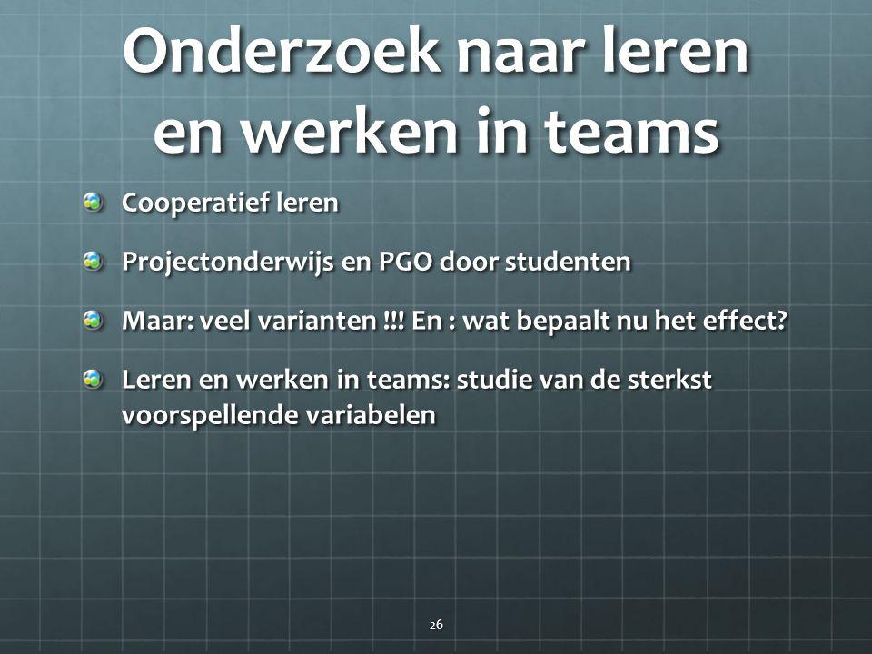 Onderzoek naar leren en werken in teams Cooperatief leren Projectonderwijs en PGO door studenten Maar: veel varianten !!! En : wat bepaalt nu het effe