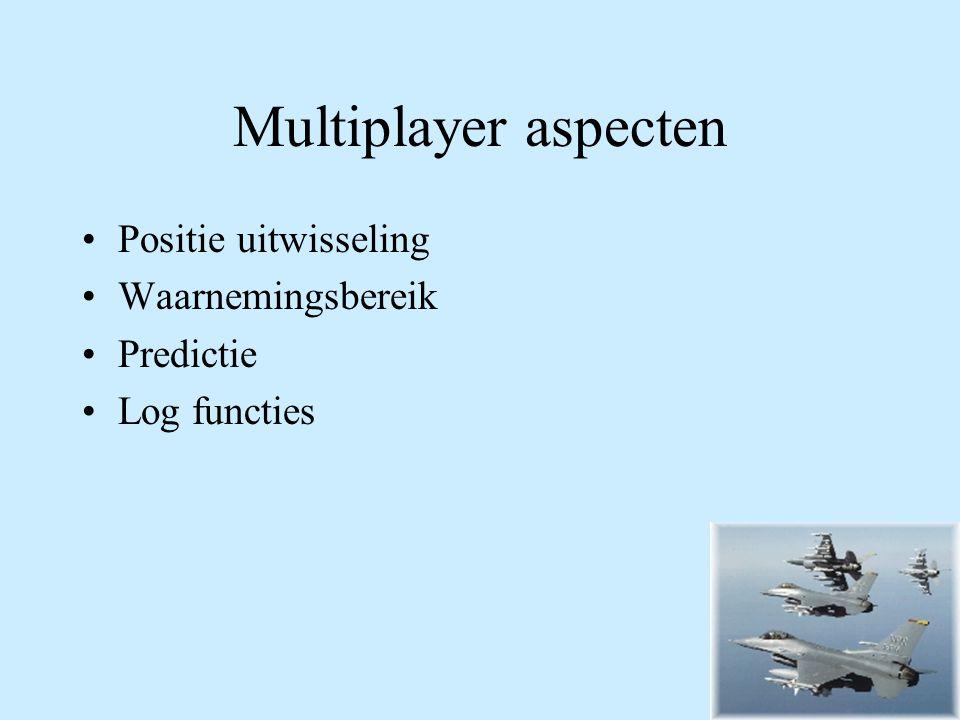 Multiplayer aspecten Positie uitwisseling Waarnemingsbereik Predictie Log functies