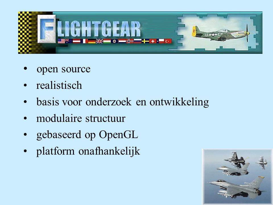 Eigenschappen Flight Gear open source realistisch basis voor onderzoek en ontwikkeling modulaire structuur gebaseerd op OpenGL platform onafhankelijk
