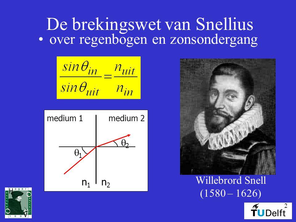 2 De brekingswet van Snellius over regenbogen en zonsondergang Willebrord Snell (1580 – 1626) medium 1medium 2 n1n1 n2n2 11 22