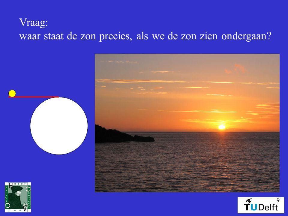 9 Vraag: waar staat de zon precies, als we de zon zien ondergaan?