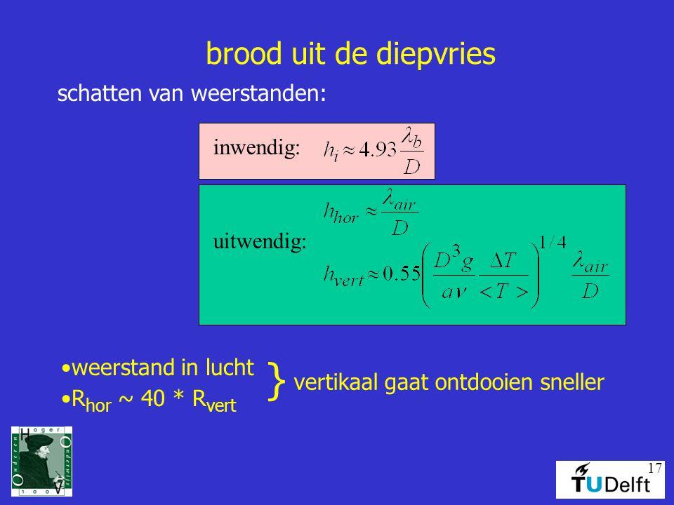 17 brood uit de diepvries schatten van weerstanden: weerstand in lucht R hor ~ 40 * R vert } vertikaal gaat ontdooien sneller inwendig: uitwendig:
