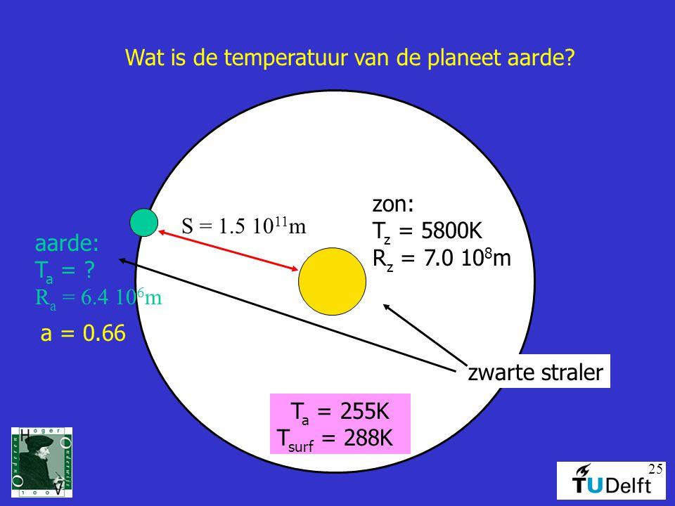 25 Wat is de temperatuur van de planeet aarde.zon: T z = 5800K R z = 7.0 10 8 m aarde: T a = .