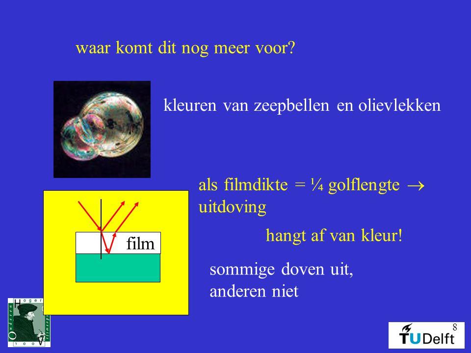8 waar komt dit nog meer voor.kleuren van zeepbellen en olievlekken film hangt af van kleur.