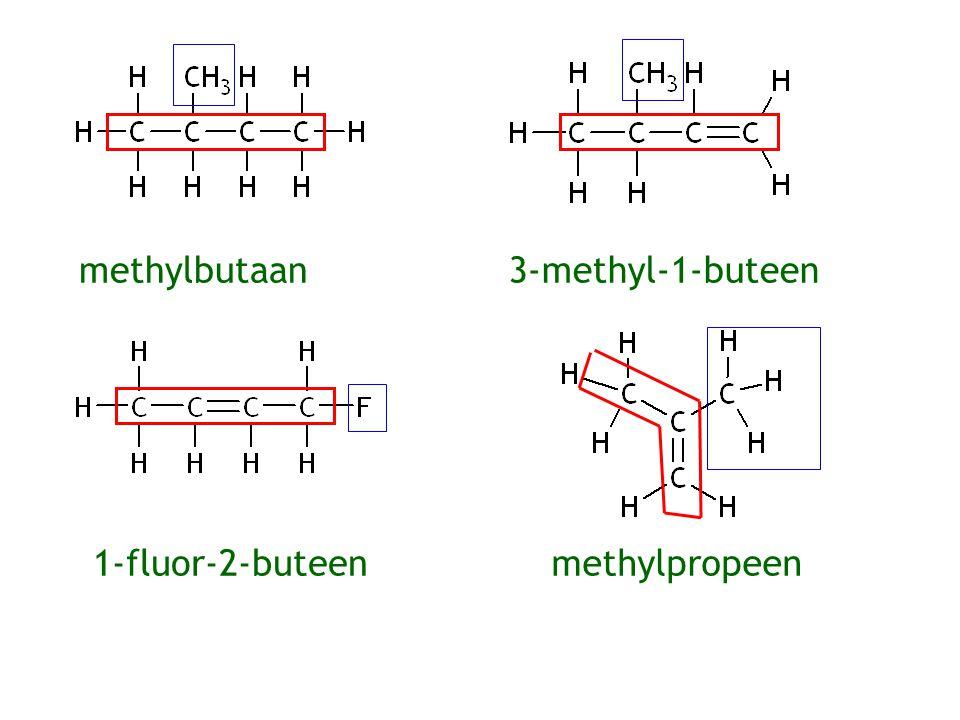 1-broompropaan Dubbele binding krijgt altijd het laagste nummer 3-broom(-1-)propeen2-broompropeen1-broompropeen