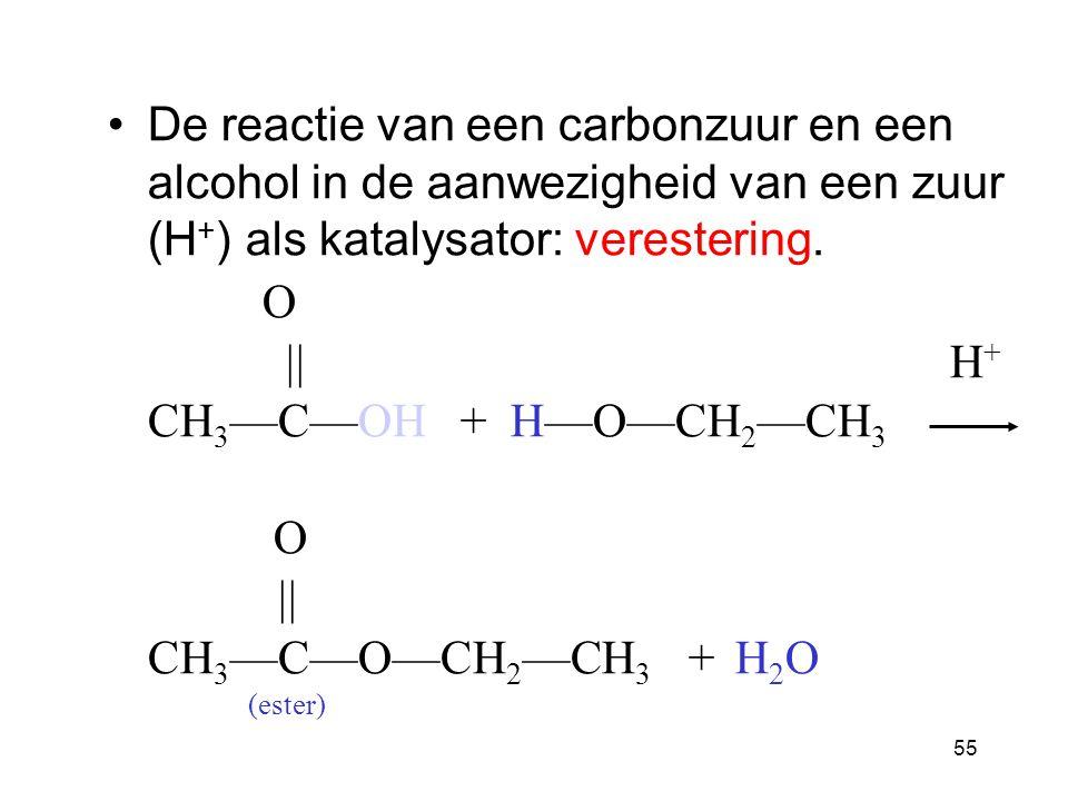 54 Esters In een ester, Is de H in de zuurgroep vervangen door een alkyl- groep (CH-). O  CH 3 — C—O—CH 3 ester groep