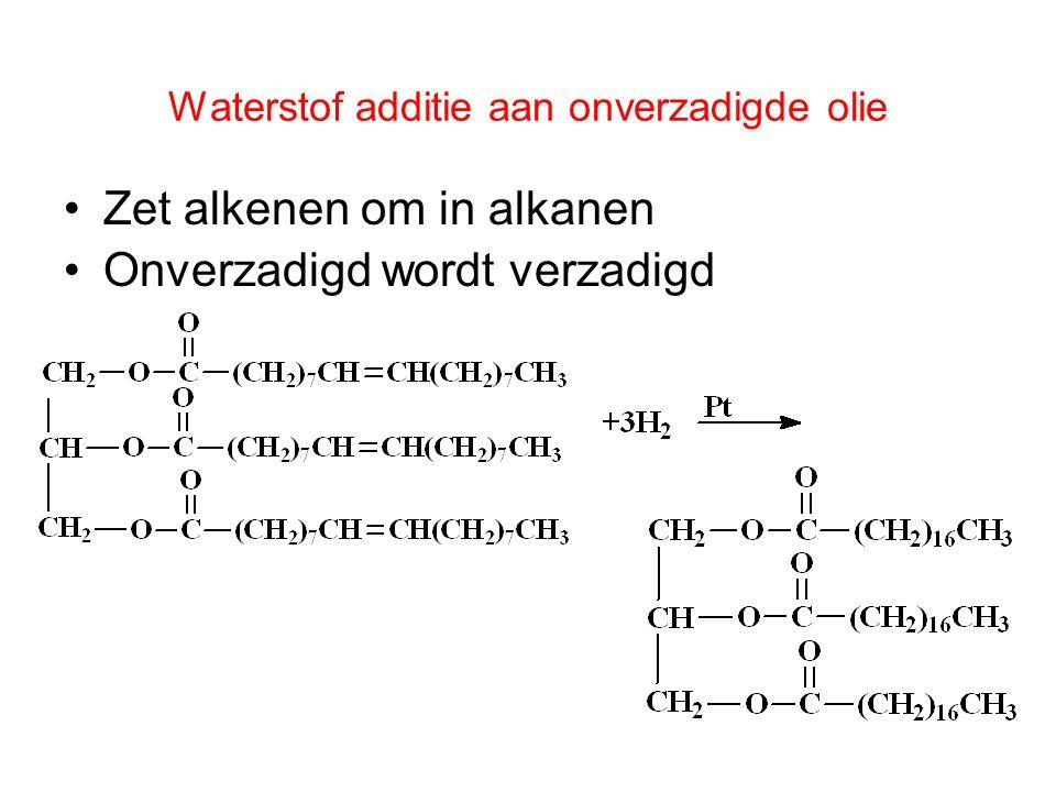 55 De reactie van een carbonzuur en een alcohol in de aanwezigheid van een zuur (H + ) als katalysator: verestering. O  H + CH 3 —C—OH + H—O—CH 2 —C