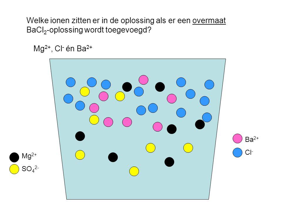 Mg 2+ SO 4 2- Ba 2+ Cl - Welke ionen zitten er in de oplossing als er een overmaat BaCl 2 -oplossing wordt toegevoegd.