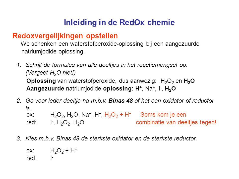 Inleiding in de RedOx chemie Redoxvergelijkingen opstellen We schenken een waterstofperoxide-oplossing bij een aangezuurde natriumjodide-oplossing. 1.