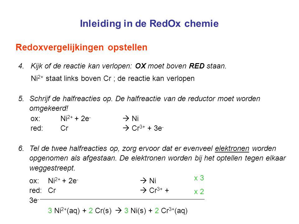 Inleiding in de RedOx chemie Redoxvergelijkingen opstellen 6.Tel de twee halfreacties op, zorg ervoor dat er evenveel elektronen worden opgenomen als
