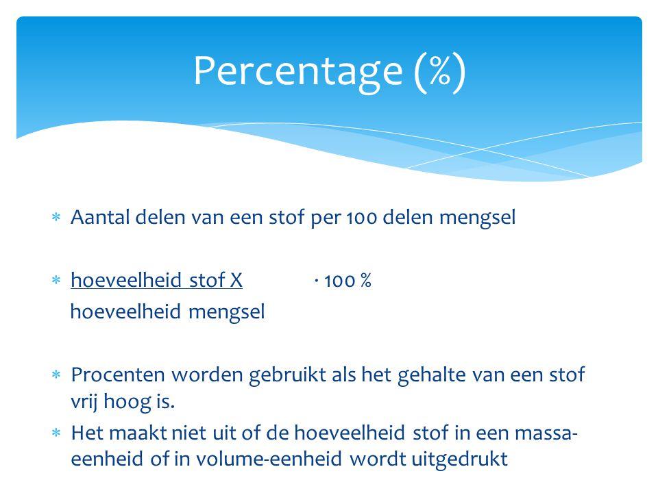 Percentage (%)  Aantal delen van een stof per 100 delen mengsel  hoeveelheid stof X ∙ 100 % hoeveelheid mengsel  Procenten worden gebruikt als het
