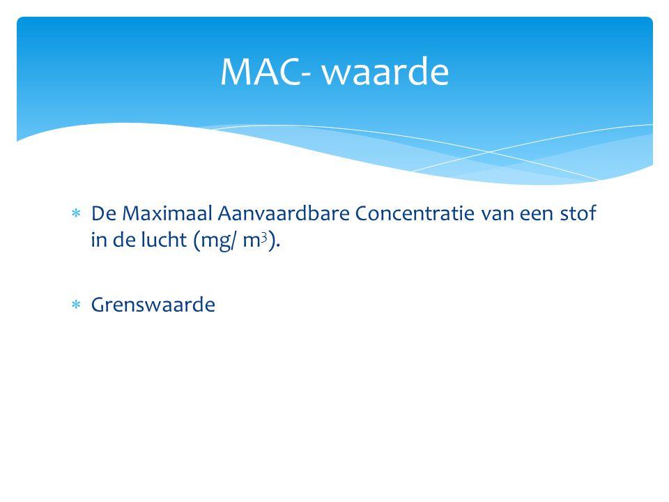 MAC- waarde  De Maximaal Aanvaardbare Concentratie van een stof in de lucht (mg/ m 3 ).  Grenswaarde