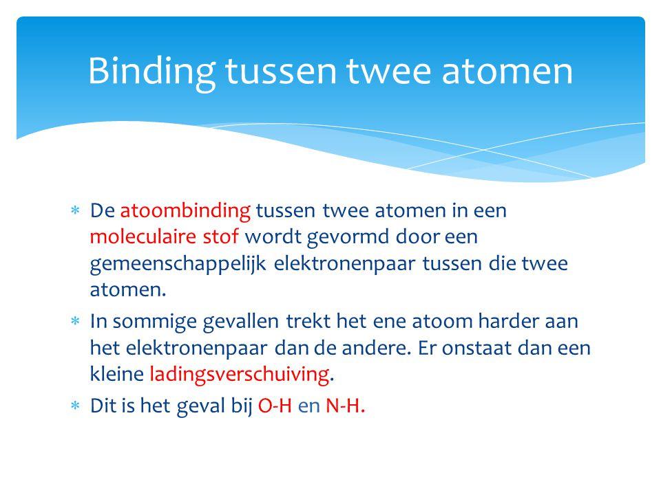  De atoombinding tussen twee atomen in een moleculaire stof wordt gevormd door een gemeenschappelijk elektronenpaar tussen die twee atomen.  In somm
