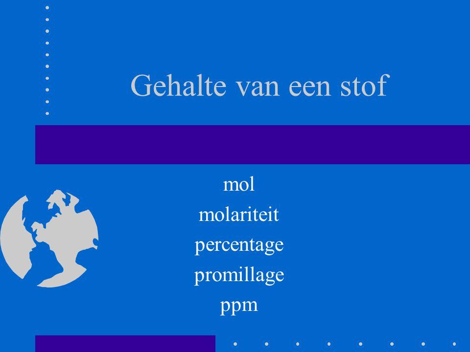Gehalte van een stof mol molariteit percentage promillage ppm