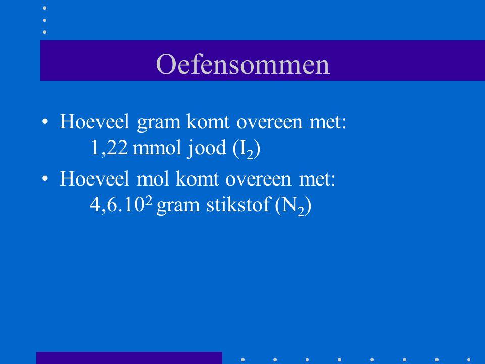 Oefensommen Hoeveel gram komt overeen met: 1,22 mmol jood (I 2 ) Hoeveel mol komt overeen met: 4,6.10 2 gram stikstof (N 2 )