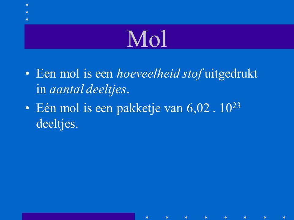 Mol Een mol is een hoeveelheid stof uitgedrukt in aantal deeltjes. Eén mol is een pakketje van 6,02. 10 23 deeltjes.