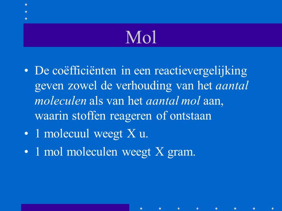 Mol De coëfficiënten in een reactievergelijking geven zowel de verhouding van het aantal moleculen als van het aantal mol aan, waarin stoffen reageren