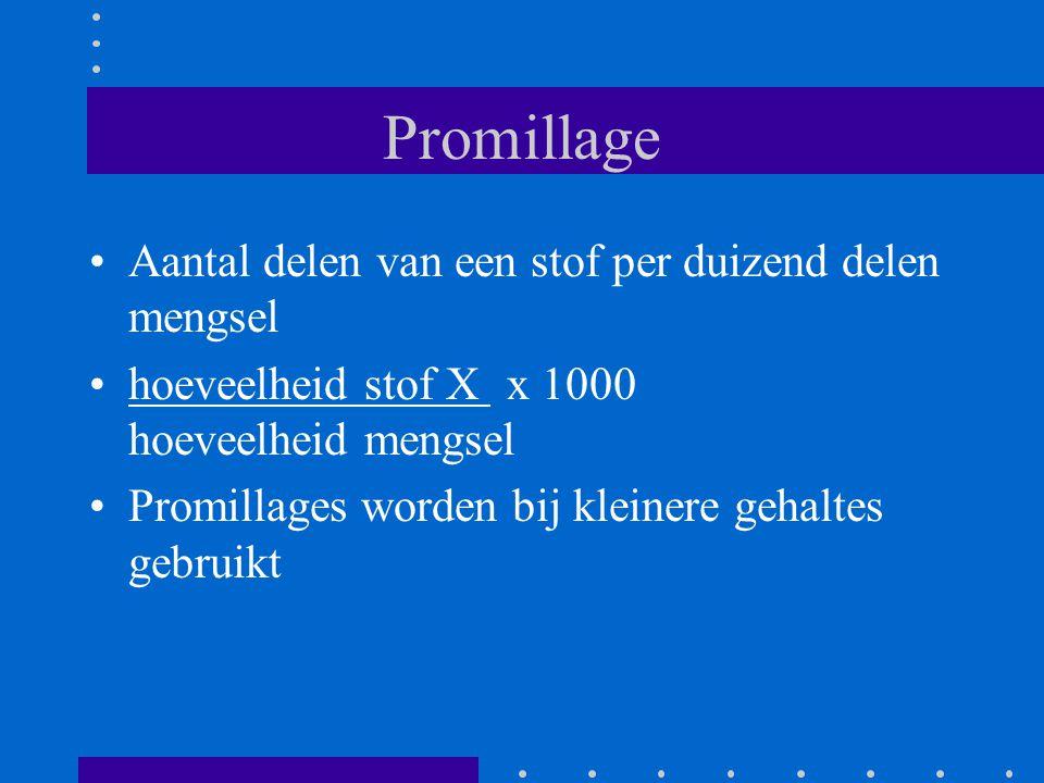 Promillage Aantal delen van een stof per duizend delen mengsel hoeveelheid stof X x 1000 hoeveelheid mengsel Promillages worden bij kleinere gehaltes